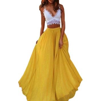 GZHOUSE Summer Boho Style Long Maxi Skirt Elegant Yellow Party Pleated Skirt Women Fashion High Waist Beach Skirts 2017