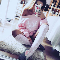 Long Sleeve Tops Winter Alphabet Print Sports Casual Cotton Hoodies [8505780941]