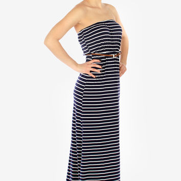 Strapless Striped Maxi Dress - Navy