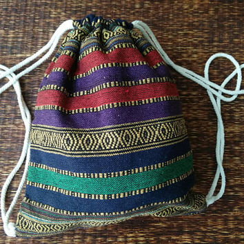 Tribal Backpack Boho Festival Beach bag Vegan Woven Hippie Styles Gypsy travel luggage Nepali aztec fabric Bohemian gift for her him unique