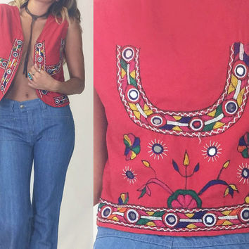 Vintag 1960's 1970's Bohemian EMBROIDERED Mirror Work Festival Vest || Size Small