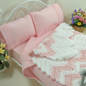 Dollhouse Accessories, Miniature Décor, Pink Chevron, Ripple Afghan, One Inch Scale, Crochet Blanket, Doll Bed Cover, Girl Bedroom Accessory