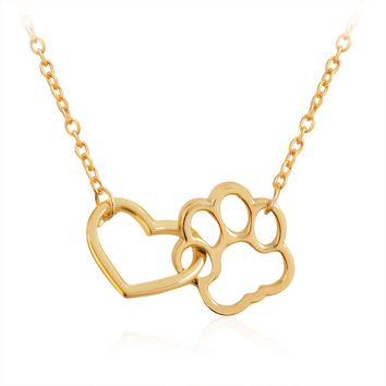 Sainio Cute Dog Cat Paw Necklace Hollow Pet Footprint Necklaces Vintage Love Heart Pendant Necklace For Women Jewelry Girls