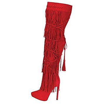 Urban Heels Women's HUNTER-01 Faux Fur Over The Knee-High Fringe High Heel Boots