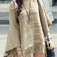 Cool SETS WORD COLLAR SWEATER TASSEL CLOAK SHAWL
