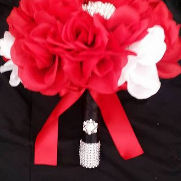 Red White Black Silk Artificial Rose Only $129 Wedding Bouquet Collection, Satin Rose Bridal Bouquet