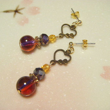 Purple and topaz small earrings, beaded dangle earrings, purple and topaz earrings with heart, gift under 10 dollars, gift for her, kawaii.