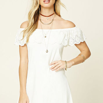 Off-The-Shoulder Eyelet Dress