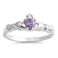Sterling Silver Petite .50 ct. Amethyst CZ Claddagh Ring Size 1-9