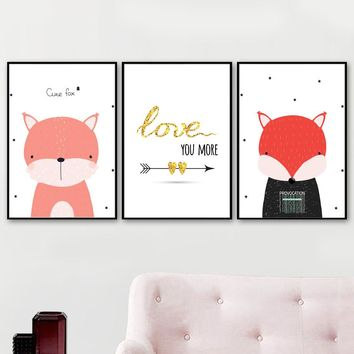 Cartoon Fox Love Quote Wall Art Canvas Painting Nordic Posters And Prints Nursery Animals Wall Pictures For Kids Room Wall Decor