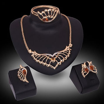 Golden Cut Out Butterfly and Wings Pattern Jewelry Set