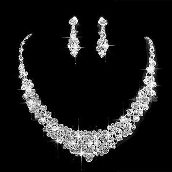 Sparkly Silver Tone Clear Rhinestone Crystal Diamante Wedding Necklace and Earrings Jewlery Sets