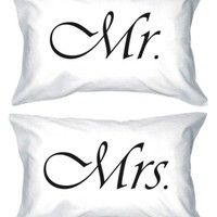 Mr & Mrs Simple Cute Matching Couple Pillowcases (Set of 2)