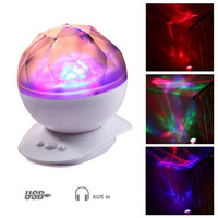 Color Changing Led Night Light Lamp & Realistic Aurora Star Borealis Projector
