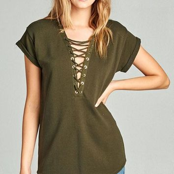 Lace Up Terry Top - Olive