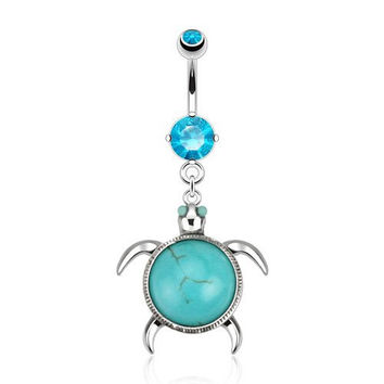 Sea Turtle with Turquoise Shell Navel Dangle Belly Button Ring