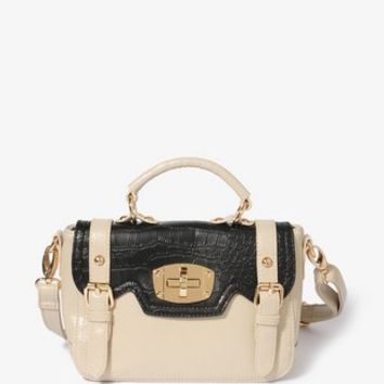 Contrast Faux Croco Crossbody