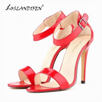 LOSLANDIFEN Summer Open Toe Ankle Straps Sandals WOMEN SHOES FAUX  HIGH HEELS PEEP TOE SANDAL PARTY CASUAL ANKLE STRAP  102-3PA