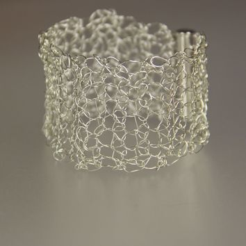 Crocheted wire sterling  silver Bangle Bracelet Handmade Freeshipping Handmade Anni Designs