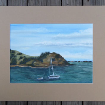 """Sailing New Zealand- Auckland - Seascape - Ocean - Large Original watercolor painting matted and ready to frame in a standard 16"""" X20"""" frame"""