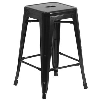 Indoor/Outdoor Stackable Industrial Style Modern Backless Barstool