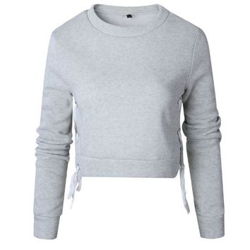 Gray Long-Sleeved Split Straps Fleece Sweater