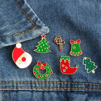 Creative Cartoon Christmas Brooches Pins Cute Santa Claus Tree Jingle Bells Socks Donuts Candy Enamel Pin Badges Brooch