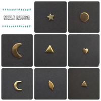 Single Stud Earring in Brass with Sterling Silver Posts / You Choose the Earring