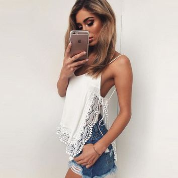 V-neck Backless Spaghetti Strap Pure Color Tank Top