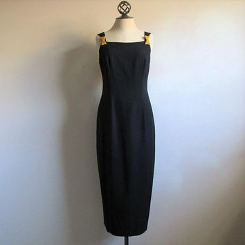 80s AJ Bari Column Dress Sleek Black Cocktail 1980s Designer Sheath Gown LBD with Gold Bow Small 6US