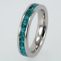 Womens Palladium Ring with Turquoise Stone Inlay, Jewelry for Women