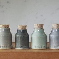 spice bottle set , spice bottles , small pottery jar with lables , modern minimal handmade ceramics READY MADE