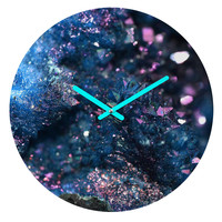 Lisa Argyropoulos Geode Abstract Teal Round Clock