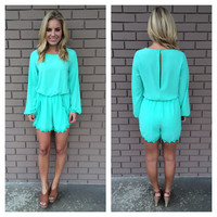 Mint Long Sleeve Lace Romper