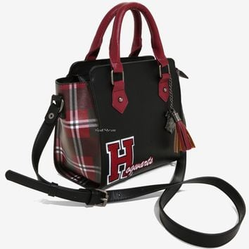 "Licensed cool Harry Potter Hogwarts Varsity Plaid Panel Satchel Hand Bag Purse 8 1/2""x9"" NWT"