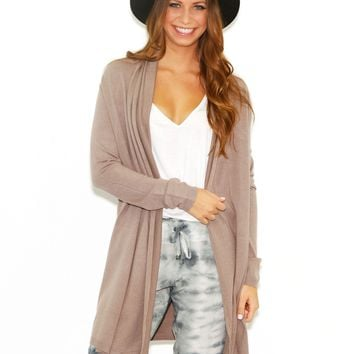 Olivaceous Long Cardigan In Mocha