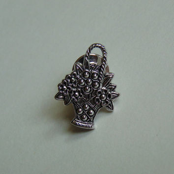 Vintage Avon Silver tone flower Basket from the Marcasite Collection Pin, Brooch, Lapel