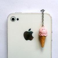 Cherry Ice Cream Cone Waffle Cone, Phone Charm, Cute And Kawaii :D