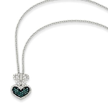 Blue & White Diamond Small Heart & Bow Necklace in Sterling Silver