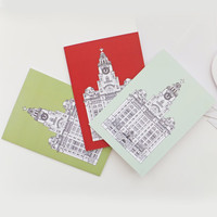 Liverpool Cards, Set of 3 Blank Cards with envelopes, Green and Red Cards, Greeting Cards, Thank You Cards, Notecards