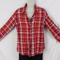 Lucky Brand Blouse M size Red Orange Plaid Cotton Womens Casual Soft Shirt Top