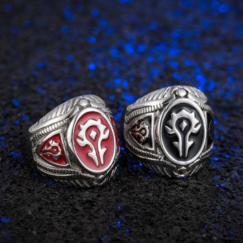 Punk Vintage Ring Stainless Steel Trendy Jewelry World of Warcraft Alliance Ring Game Enamel Horde Logo Accessories SP1215