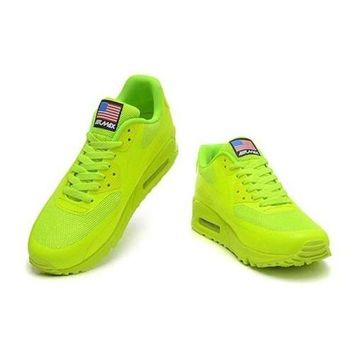 ICIKIN2 Men s Women s Nike Air Max 90 American Flag Shoes Fluorescent Green