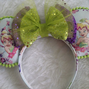 """Tinker bell """"Tink Watercolor Pixie Fairy Ears"""" Handmade Custom Mouse Ears inspired by Disney"""