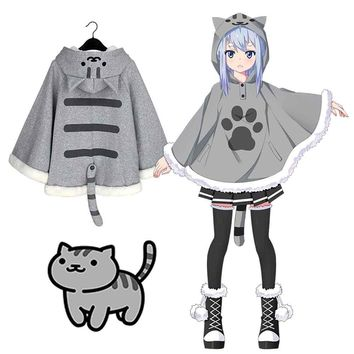 Neko Atsume Cosplay Cloak Cute Girl Neko Hoodie Cape with Tail Mobile Game Mr Cat Teacher Warm Coat Free Size 2 Colors Available