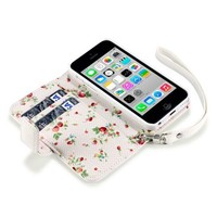iPhone 5C Premium Faux Leather Wallet Case with Floral Interior (White Floral)