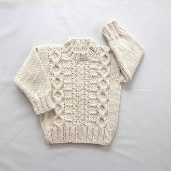 Aran baby sweater - 12 to 24 months - Knit Aran jumper - Baby clothing - Infant Aran sweater