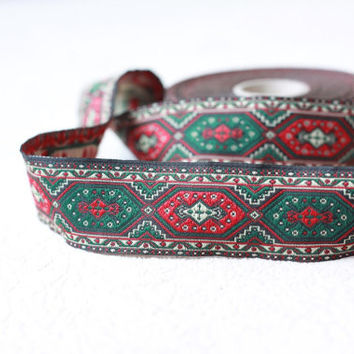 33mm turkisch rug Jacquard ribbon, Embroidered border, Sewing trim, kilim Jacquard trim,  diamond  Woven Border, Craft border