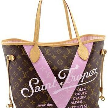 Louis Vuitton Pink Monogram V Neverfull Mm Saint Limited Edition Brown Tote Bag