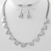 Elegant Silvertone Heart Necklace w/Bling Rhinestone Accents & Matching Fish Hook Dangle Heart Earrings by Jersey Bling